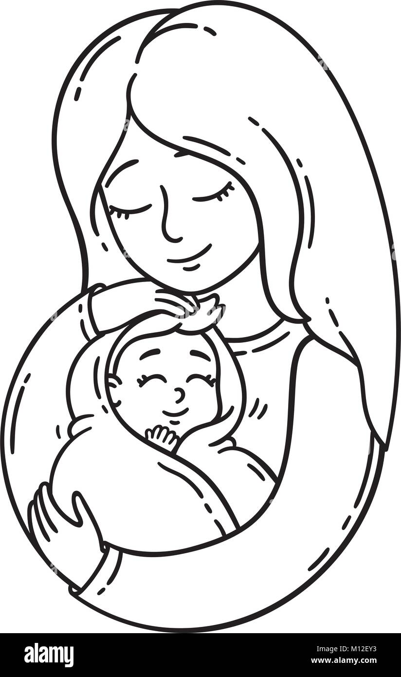 Madre sosteniendo el bebé. Los objetos aislados sobre fondo blanco ...