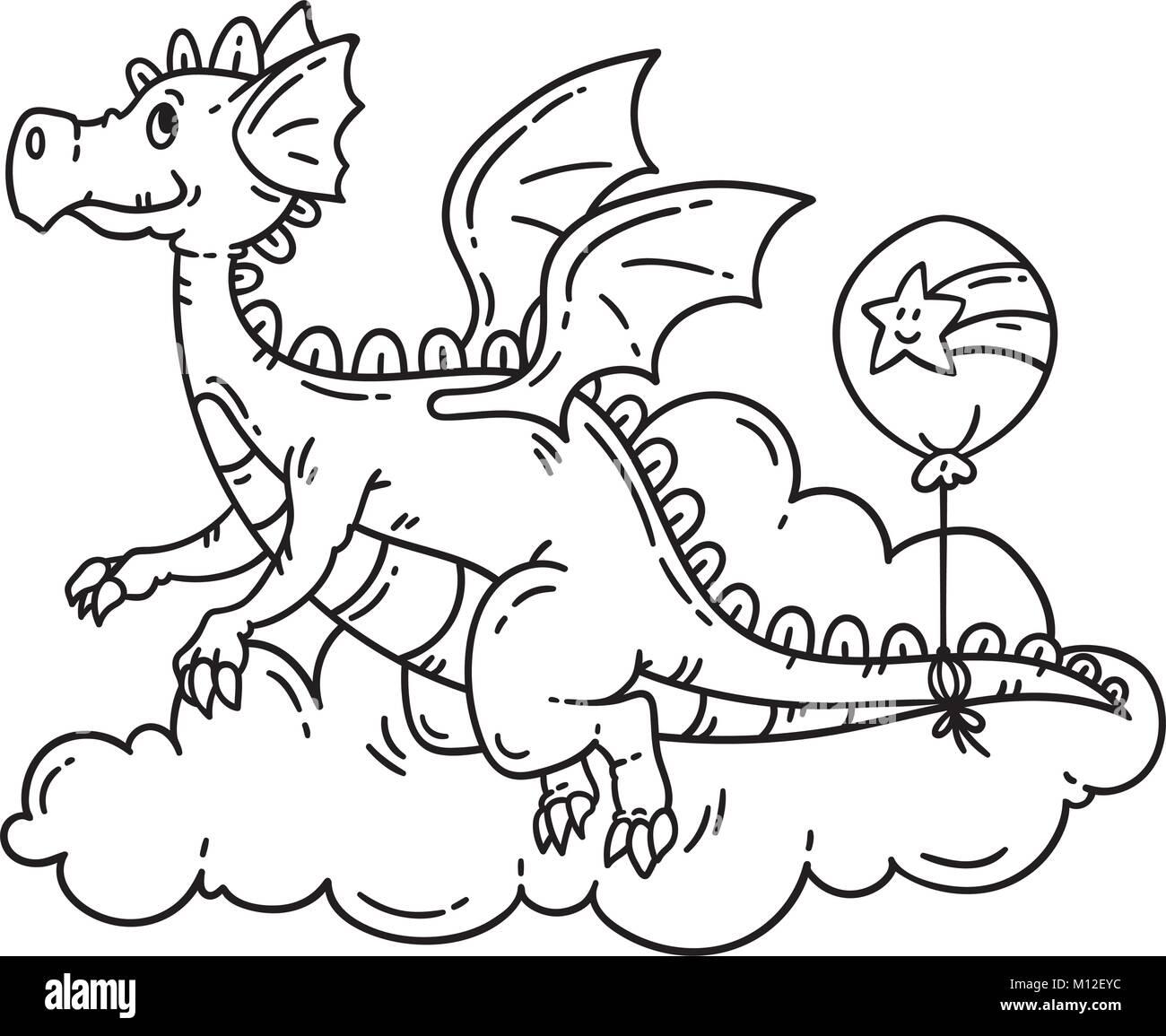 Caricatura Flying Dragon. Los objetos aislados sobre fondo blanco ...