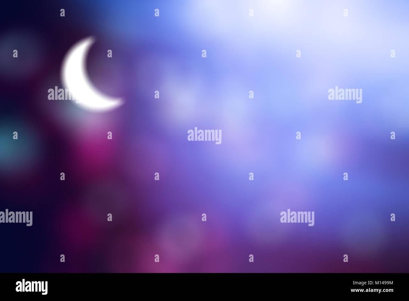Luna Azul Púrpura Sobre Un Fondo Abstracto Bokeh Degradado De Azul