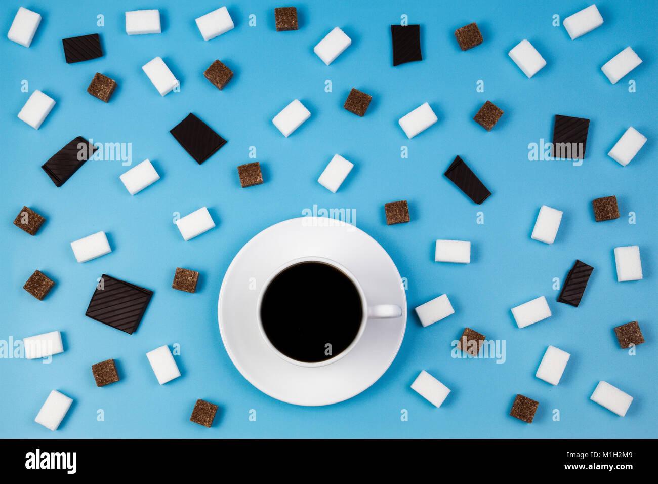 Taza De Cafe Blanco Marron Y Blanco De Terrones De Azucar Y - Marron-y-chocolate