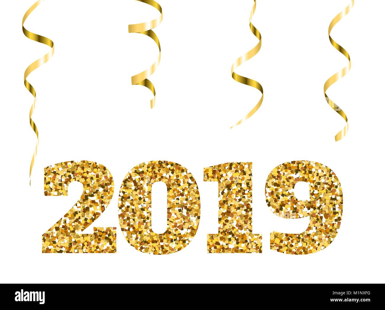 feliz año nuevo 2019 glitter particulas de oro y brilla elemento