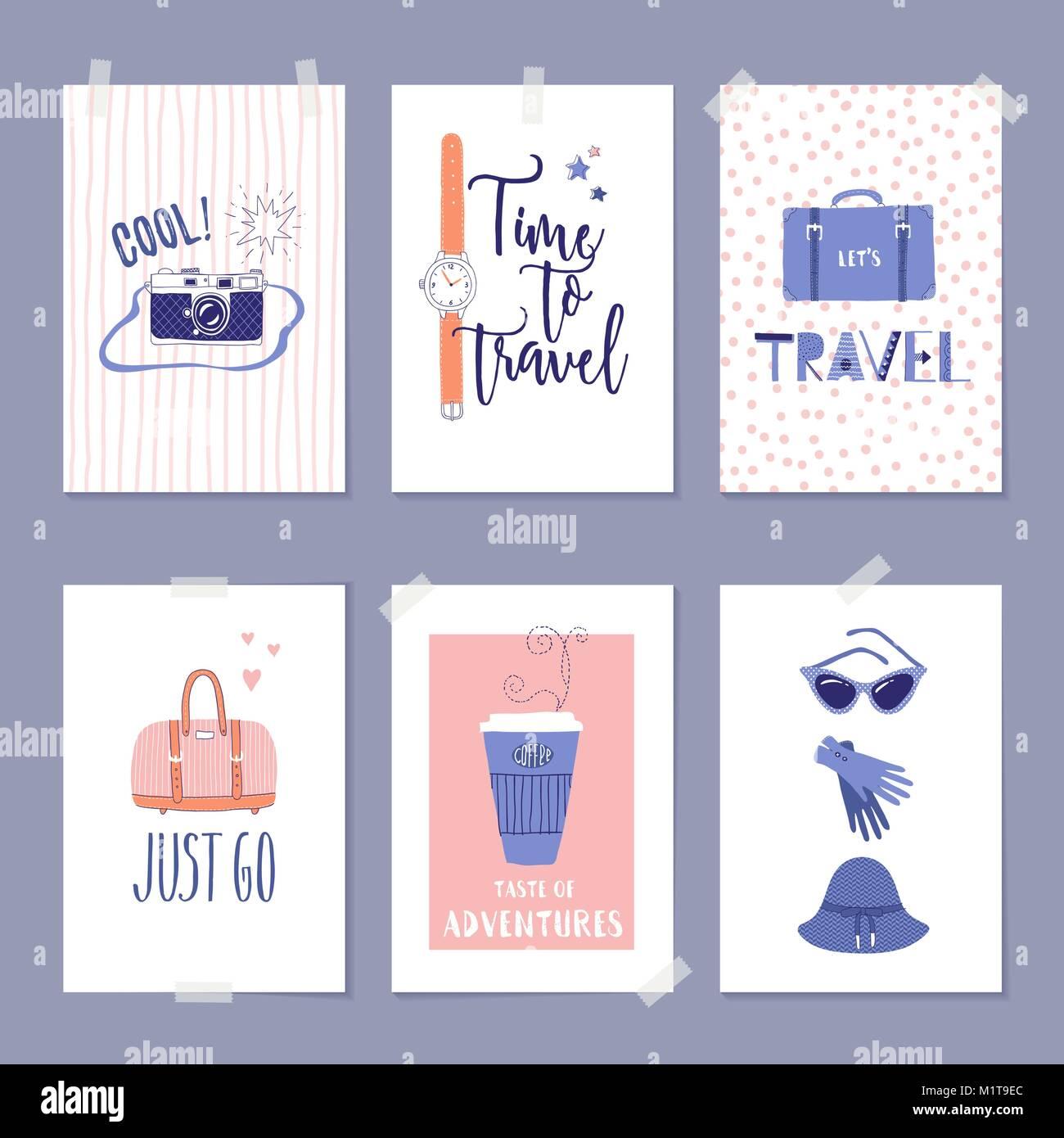 Conjunto de plantillas de vectores de viajes con ilustraciones y ...