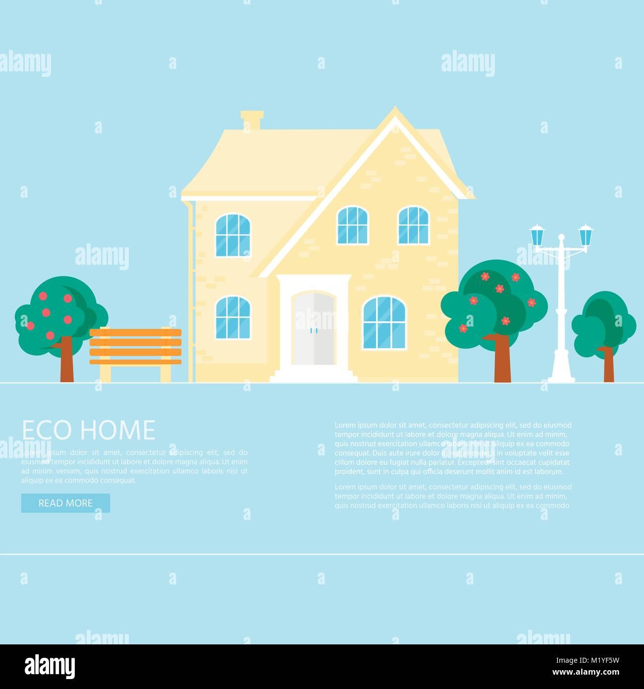 Resumen Antecedentes de banner con acogedora casa, casa, chalet, con ...
