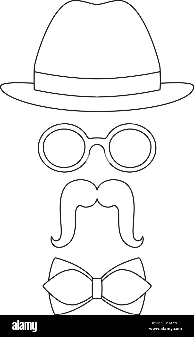 Póster icono hombre padre papá día avatar set gafas sombrero bigote ...