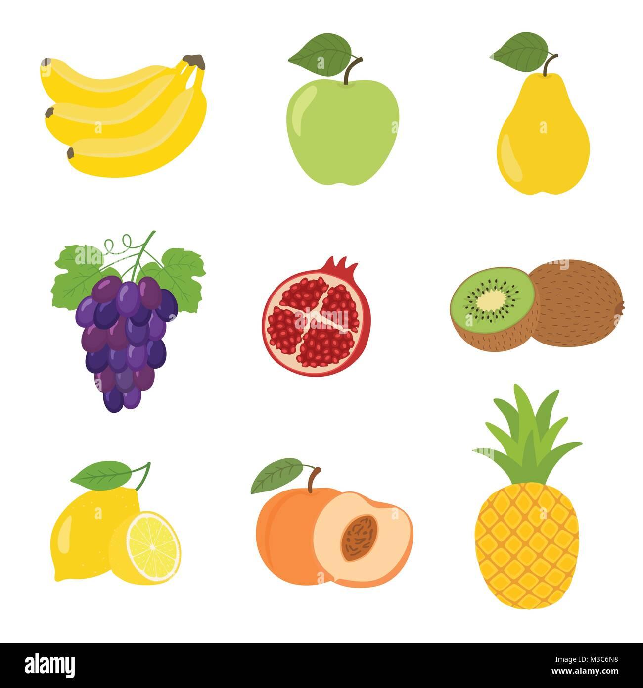 conjunto de coloridos dibujos animados iconos de fruta de manzana