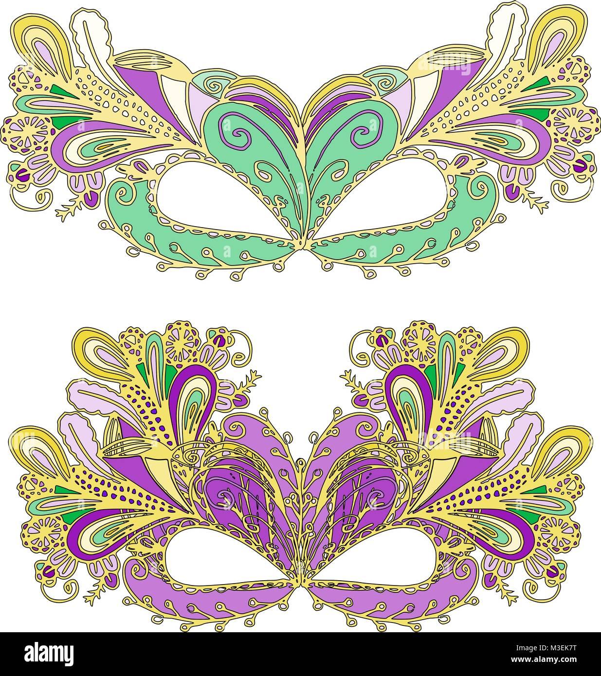 Vector doodle Mardi Gras de la máscara de carnaval con plumas ...