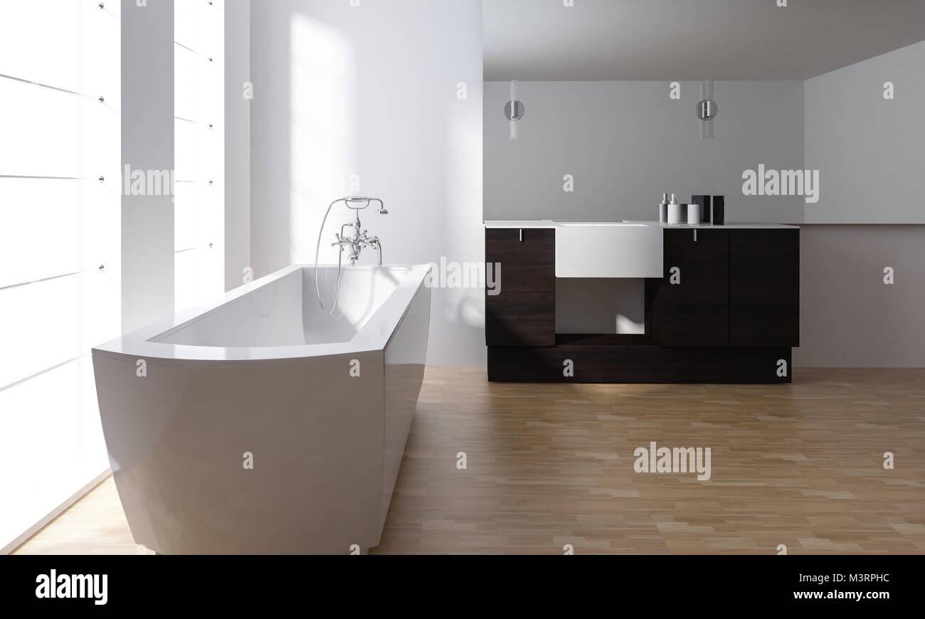 Cuarto de baño con estilo moderno minimalista interior con bañera de ...