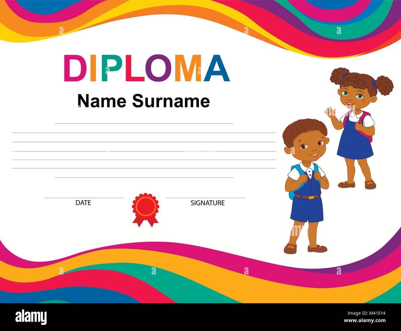 Los niños Certificado de Diploma de la plantilla de diseño de fondo ...