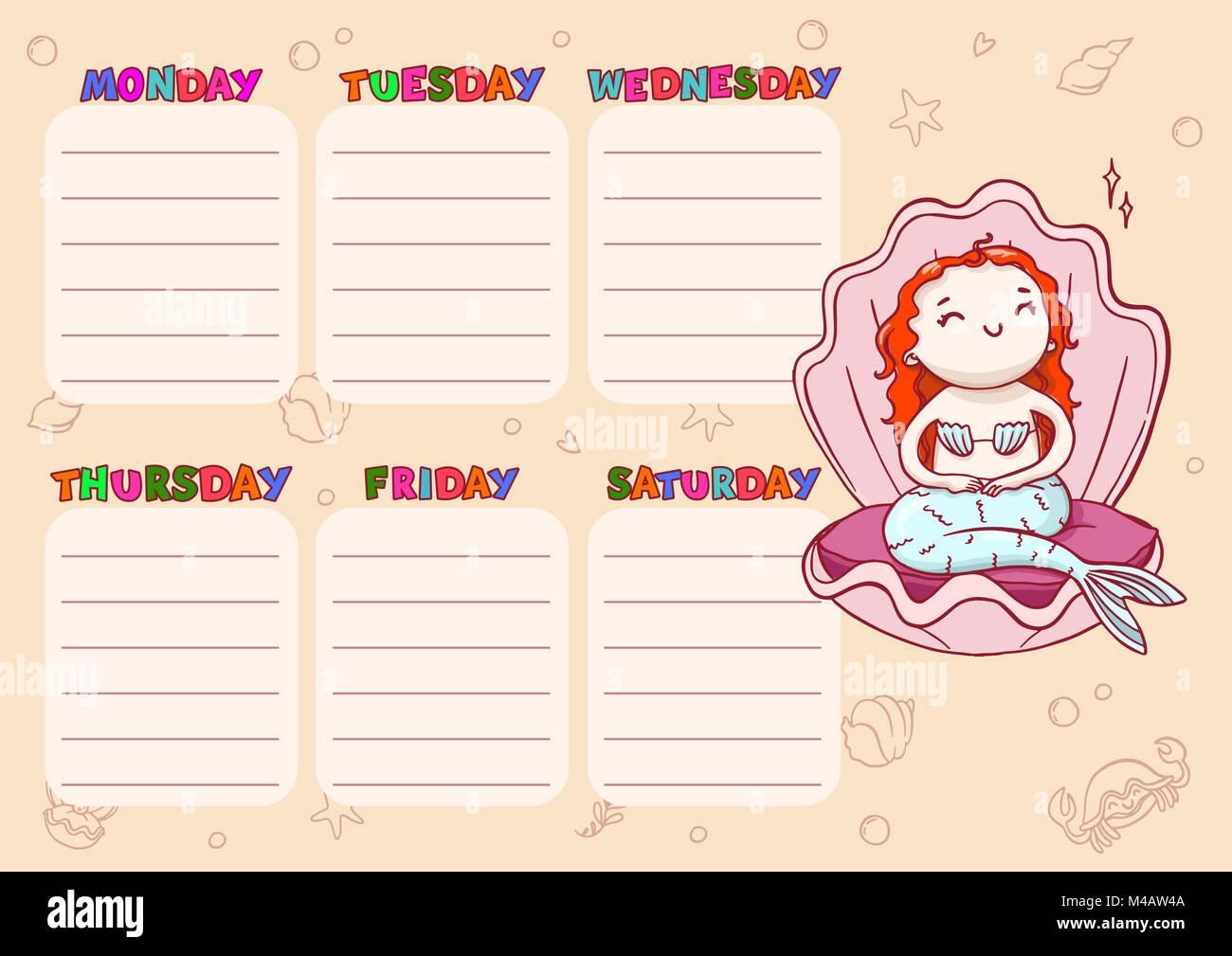 Calendario escolar diaria para los niños. Cartoon vectores plantilla ...