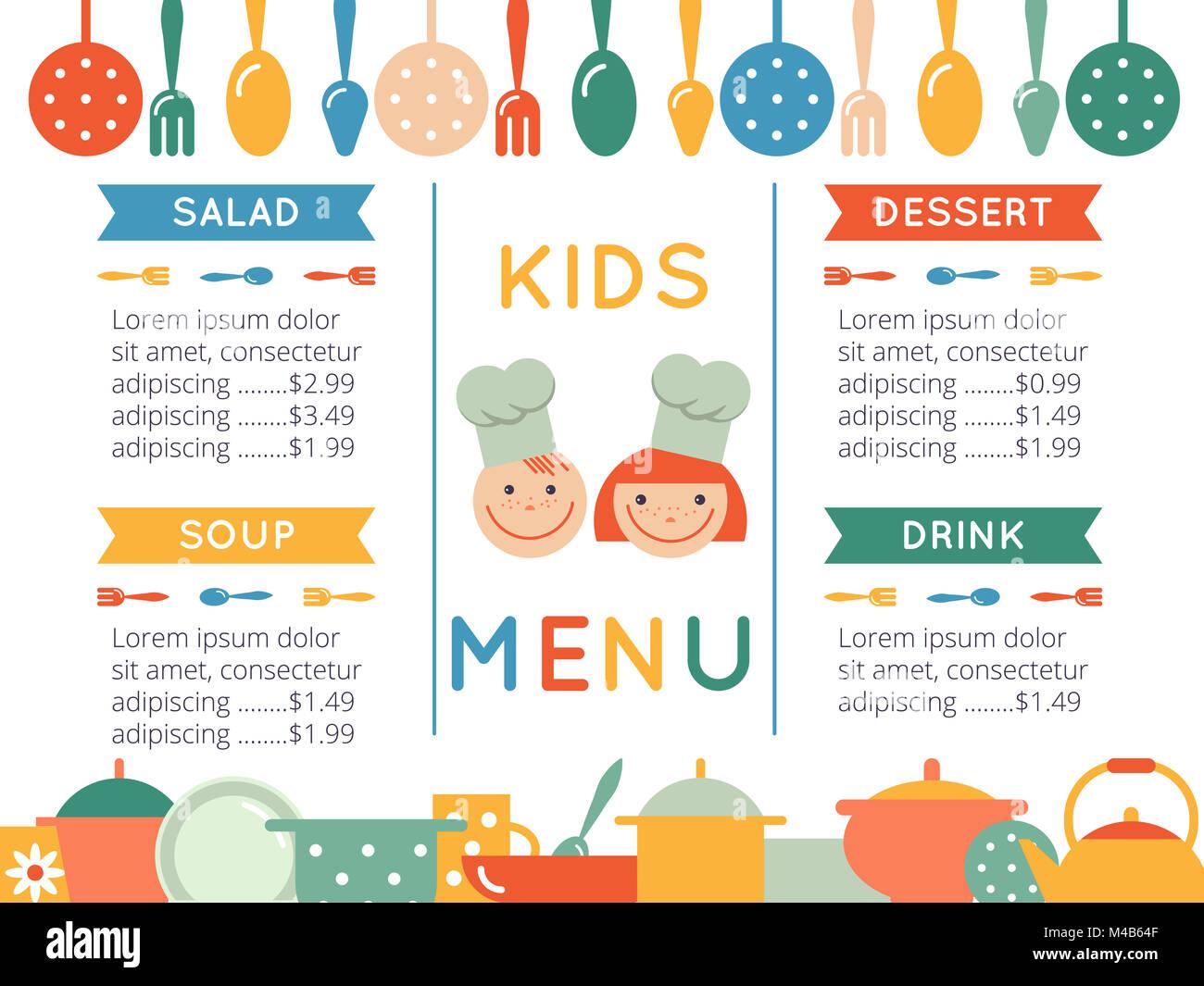 Plantilla de menú para niños Foto & Imagen De Stock: 174808607 - Alamy