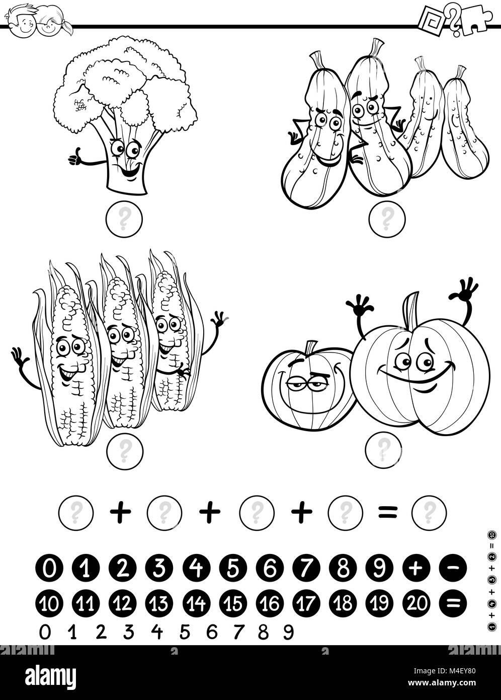 Hoja De Actividades De Matemáticas Para Colorear Foto Imagen De