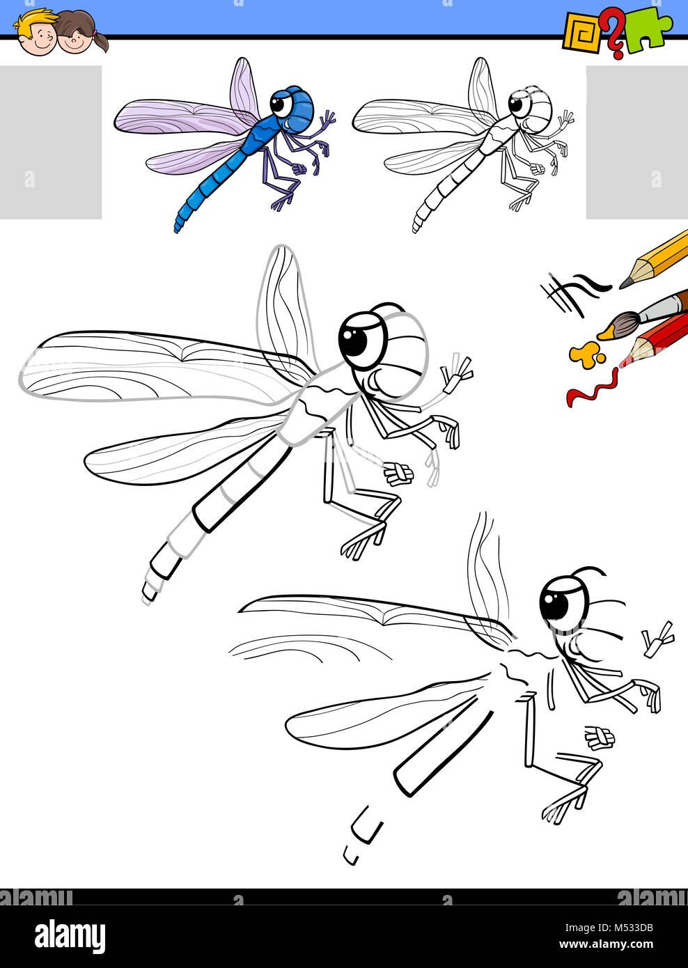 Dibujar y colorear actividad con dragonfly Foto & Imagen De Stock ...