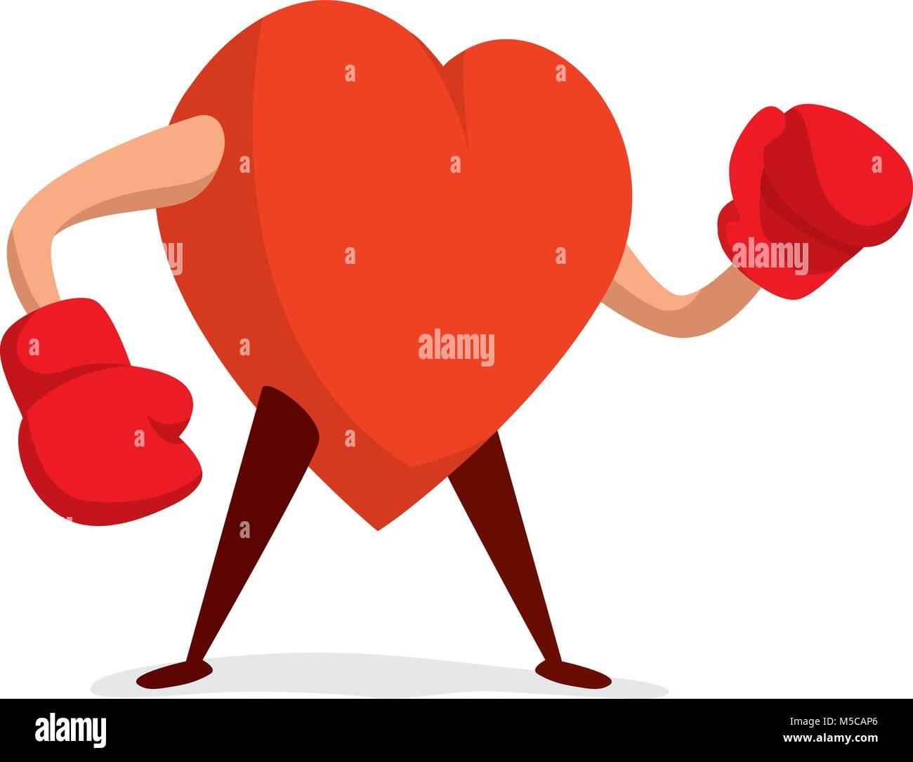 ilustración de dibujos animados de corazón duro con guantes de boxeo