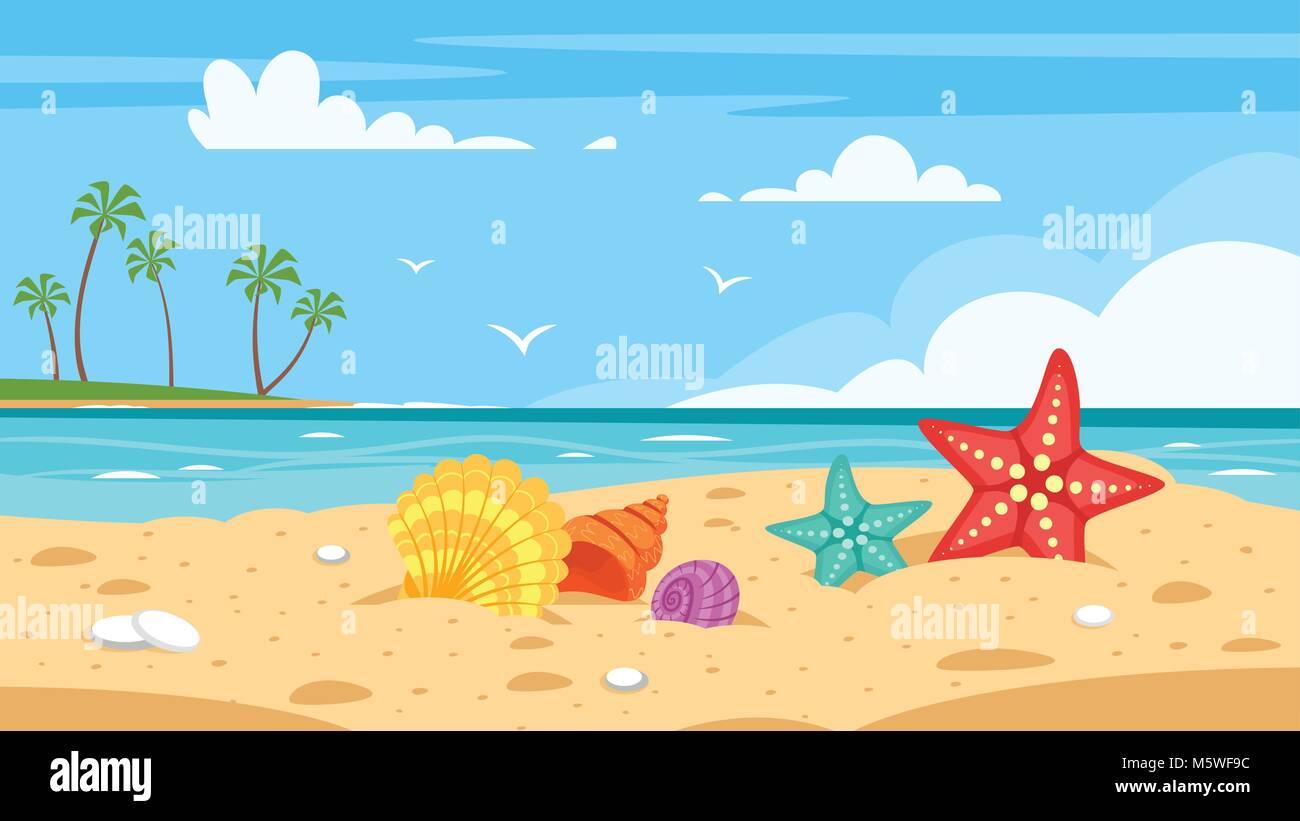 Estilo De Dibujos Animados De Vectores Fondo De Mar Con