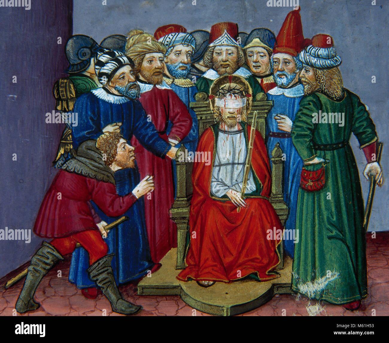 Después de vestirse de Jesús en una túnica de color púrpura, los ...