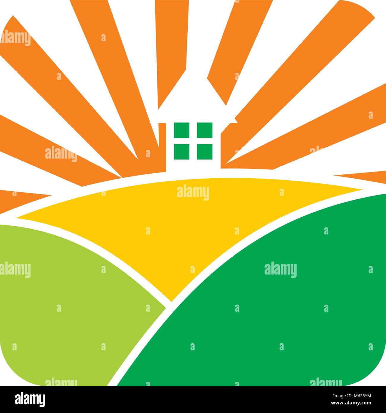 Paisaje home Diseño de Logotipo Vector Plantilla Ilustración del ...