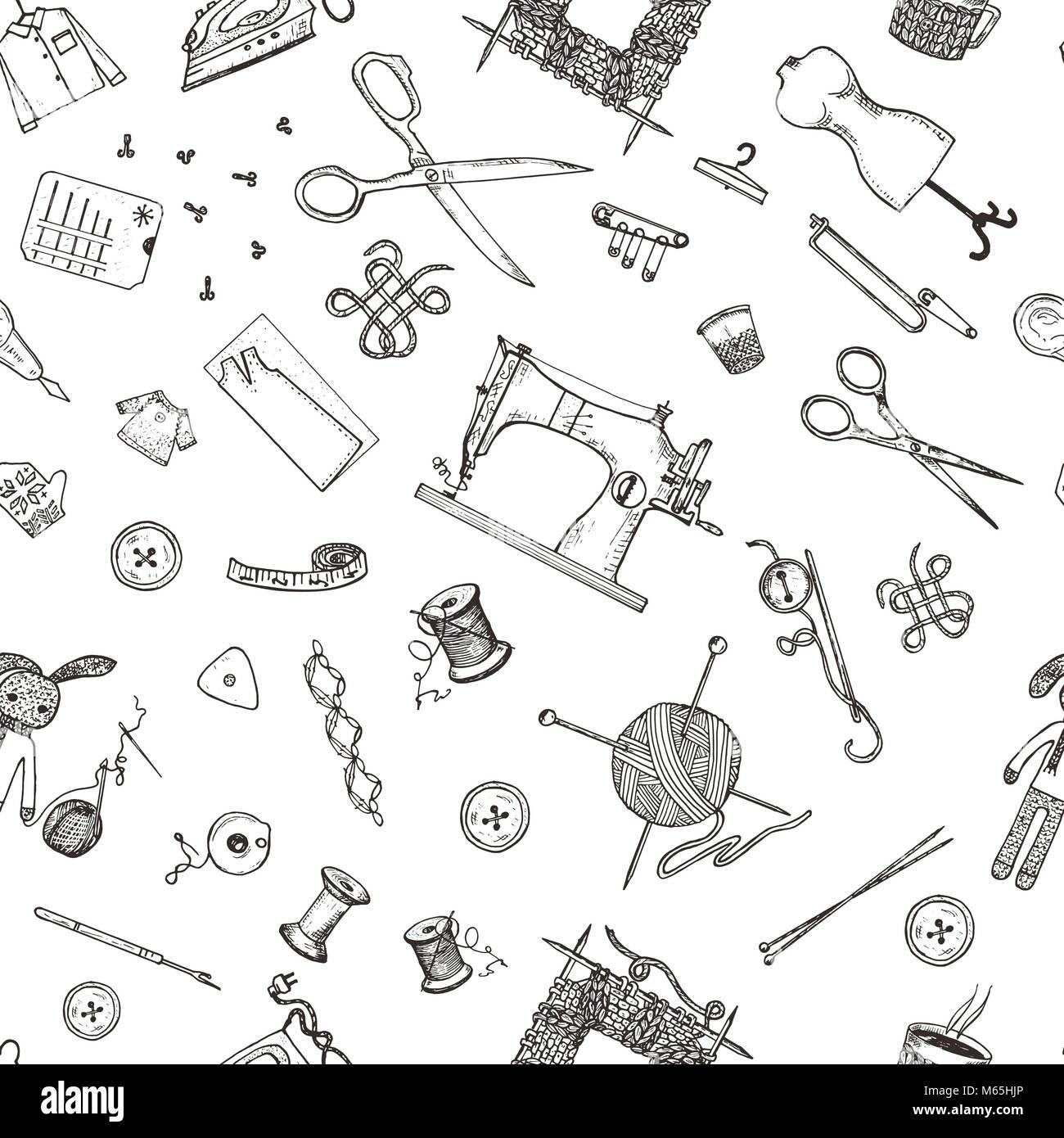 Patrón sin fisuras de la costura herramientas y materiales o ...