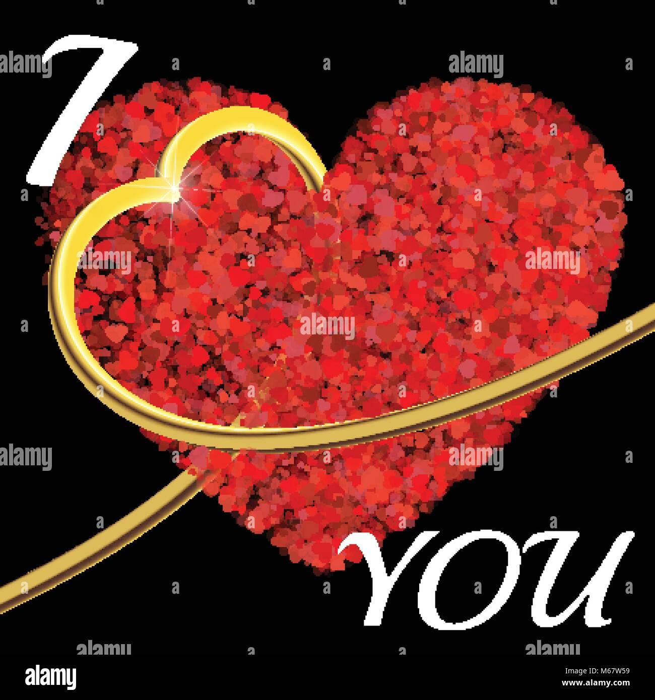 Día De San Valentín Composición De Los Corazones 3d Golden Heart