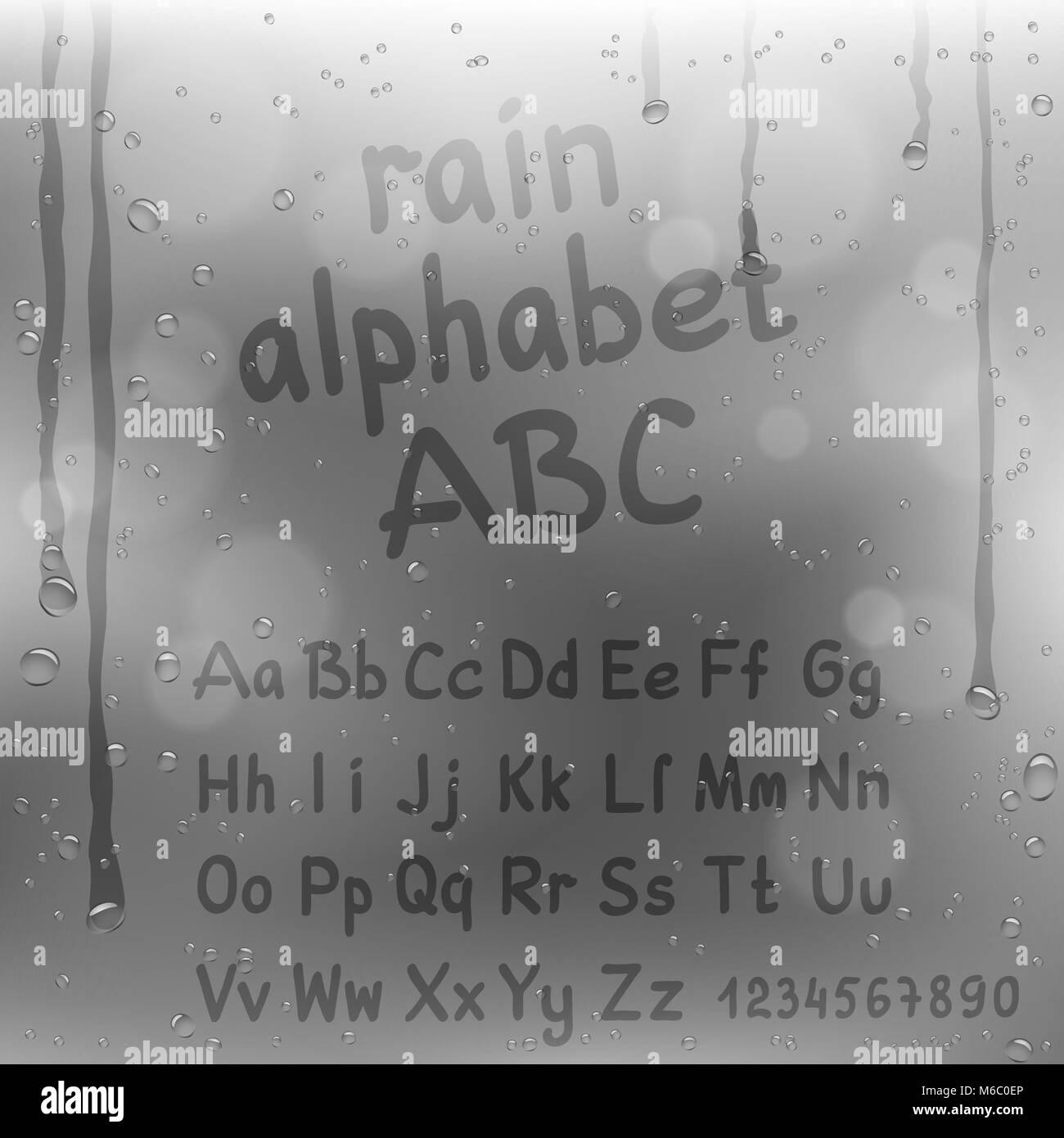 Dedo dibujar el alfabeto sobre fondo gris de lluvia. Agua de fuente ...