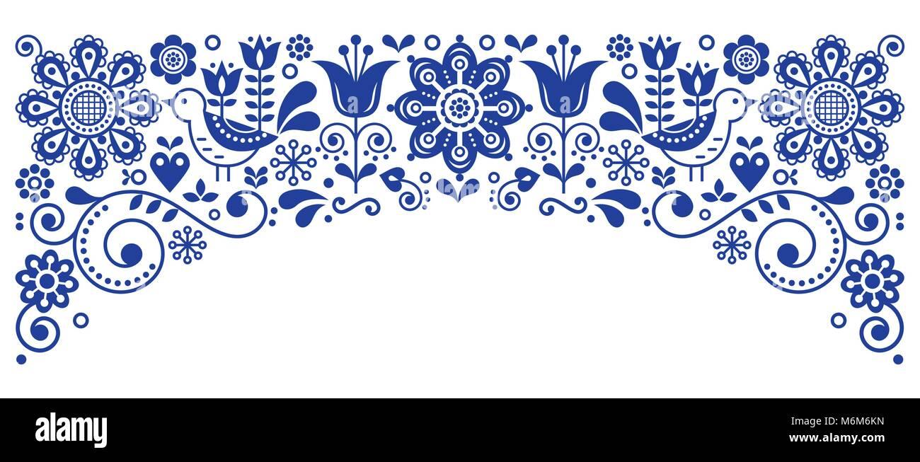 Borde de marco de arte folk escandinavo retro, diseño de tarjetas de ...
