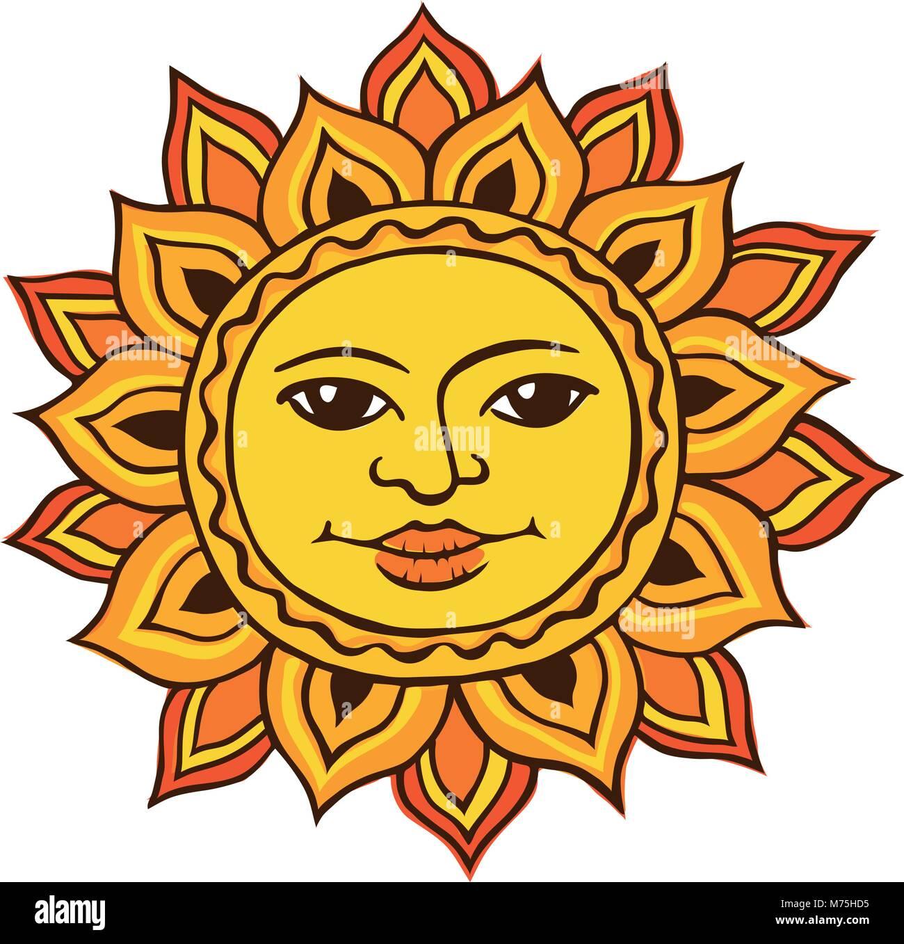 dibujo étnico del sol ilustración del vector imagen 176529729 alamy