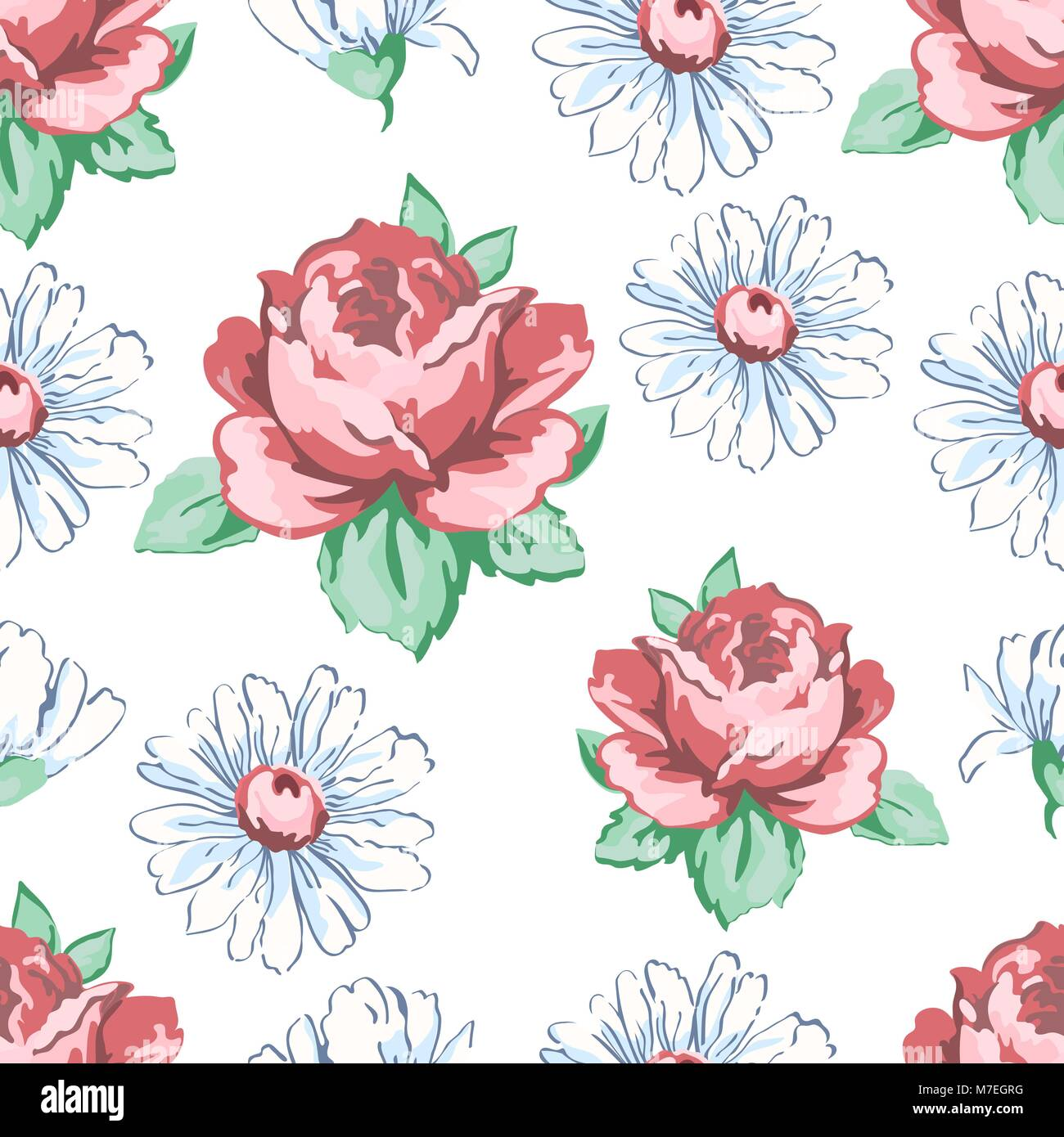 Rosas y flores de manzanilla, dibujo a mano alzada, sin fisuras ...