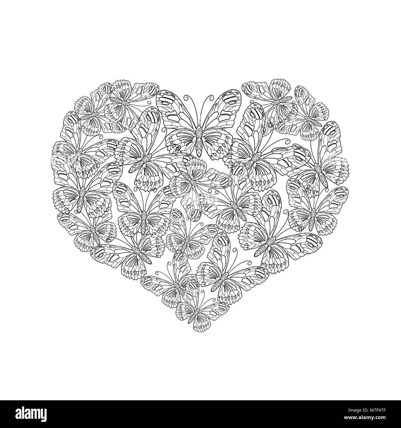 Ilustración vectorial de forma corazón de mariposas en blanco y ...