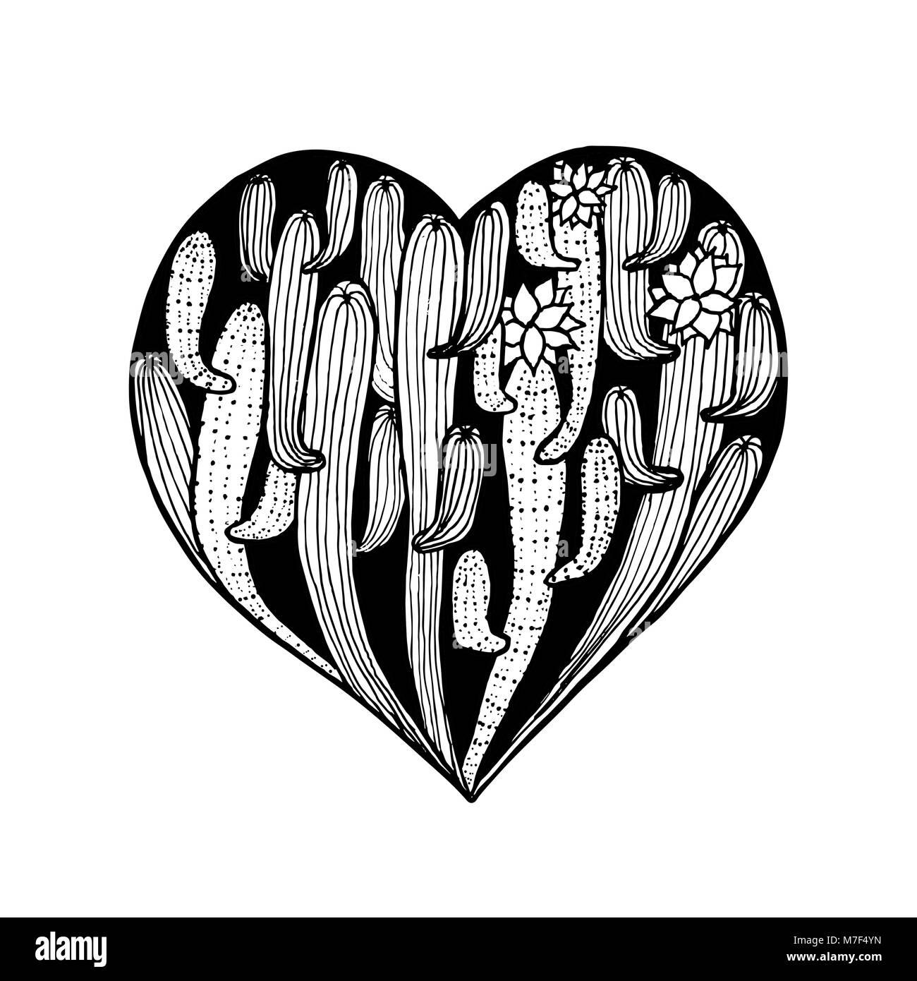 Mano de vectores amanecer corazón de cactus. Página de libro para ...