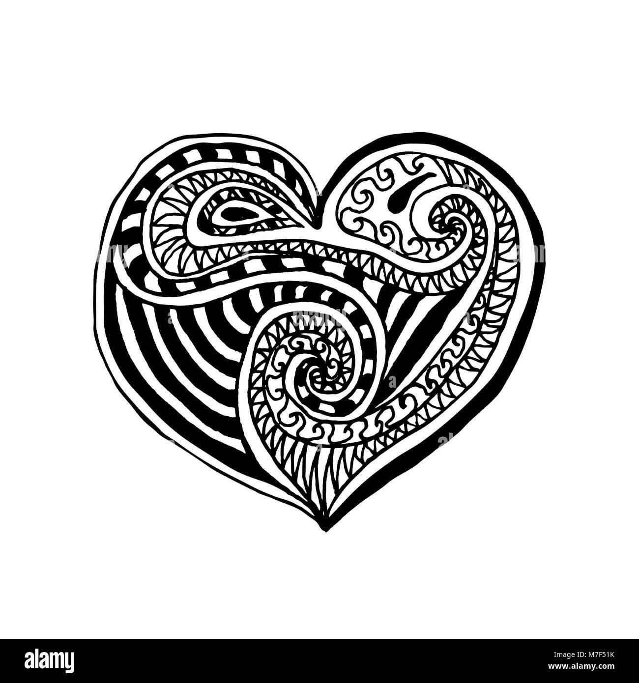 Ilustración vectorial de doodle corazón dibujados a mano. Página de ...