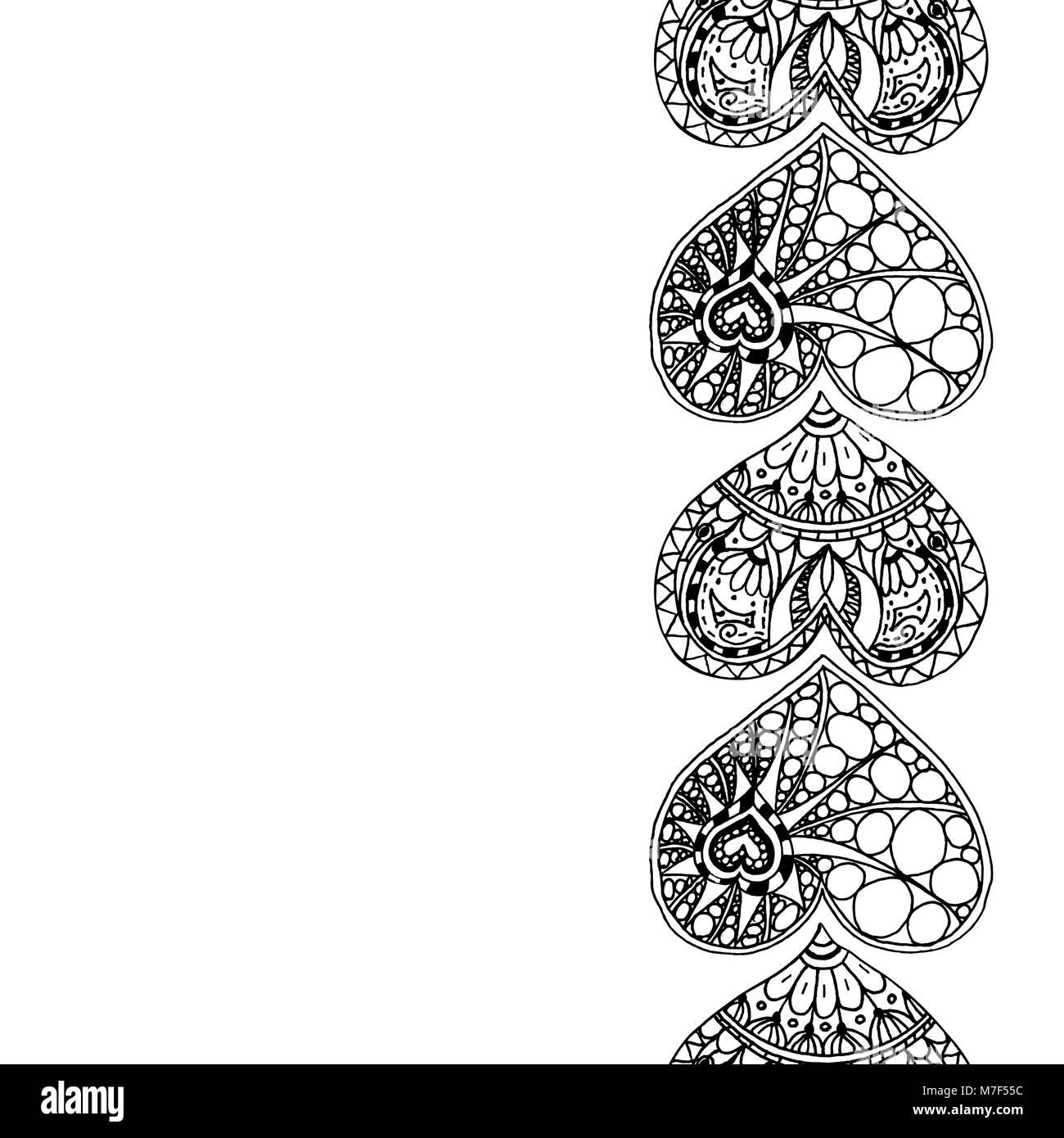 Vector decorativo borde vertical del dibujo a mano alzada, corazones ...