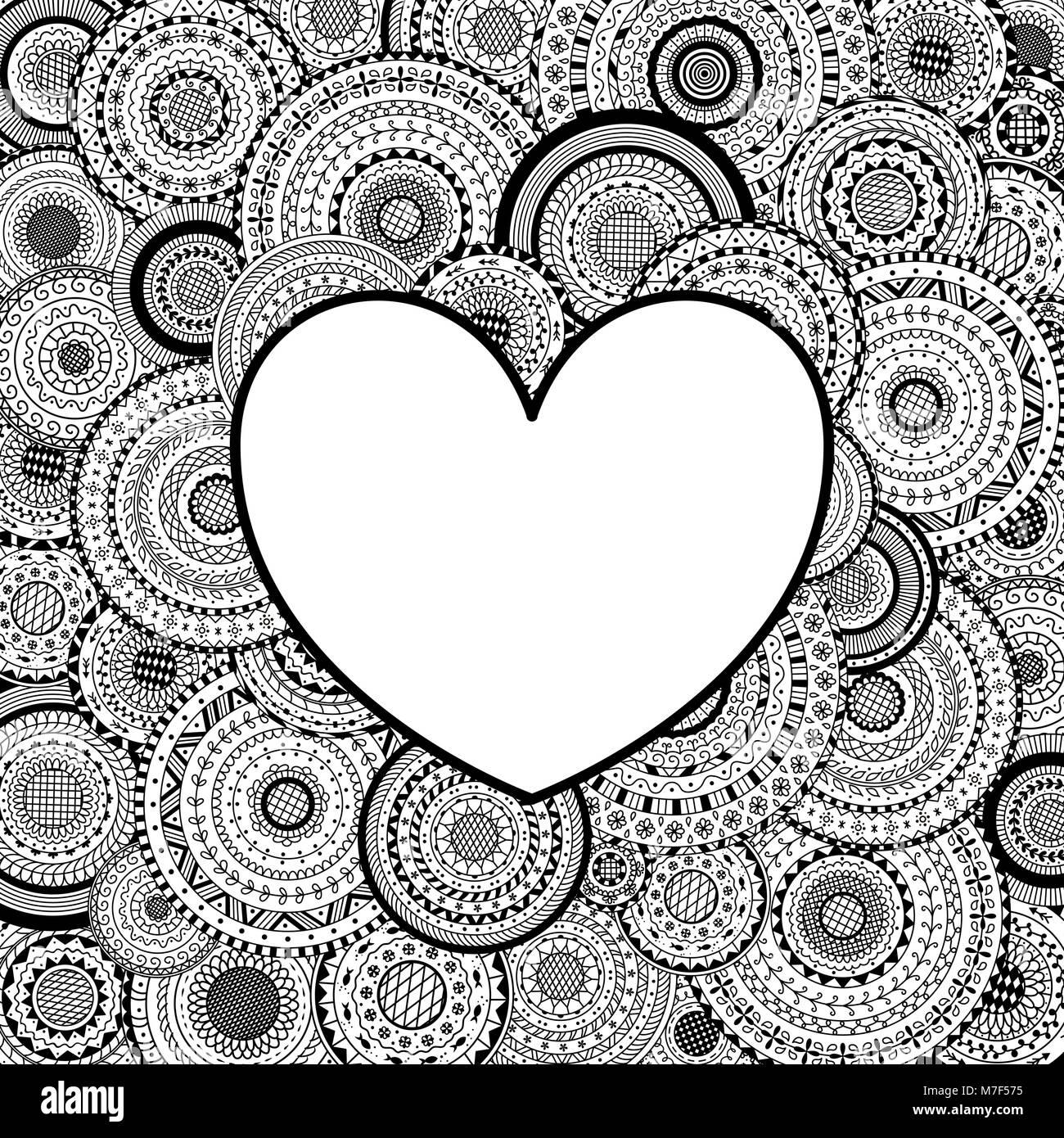Bastidor de vectores en forma de corazón sobre mandalas de fondo ...