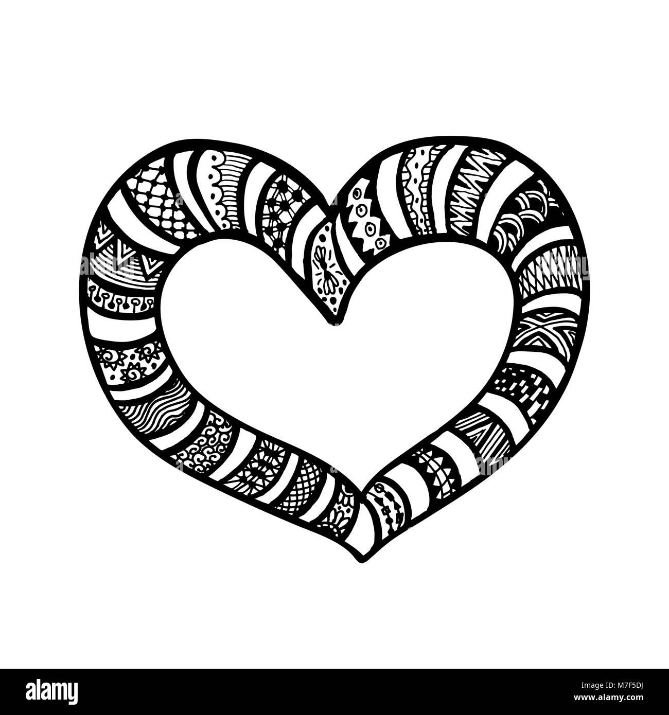 Ilustración vectorial de doodle corazones dibujados a mano. Página ...