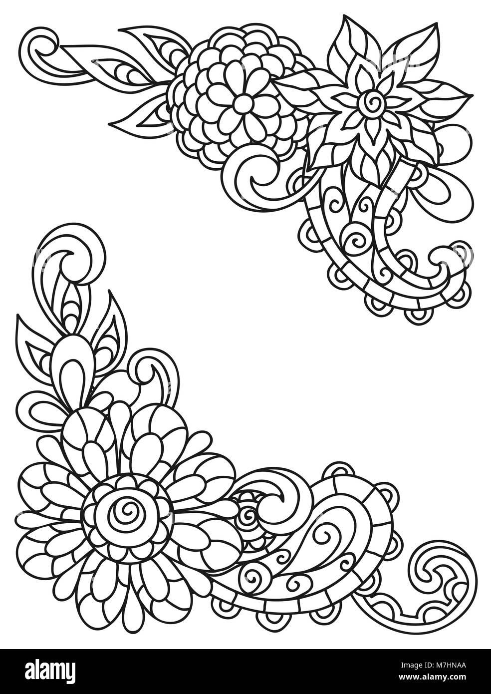 Viñetas de esquina con flores de línea para imprimir páginas para ...