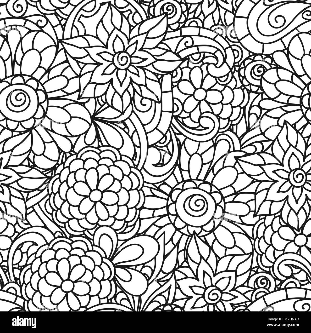 Patrón de la naturaleza fluida con la línea flores para adultos ...
