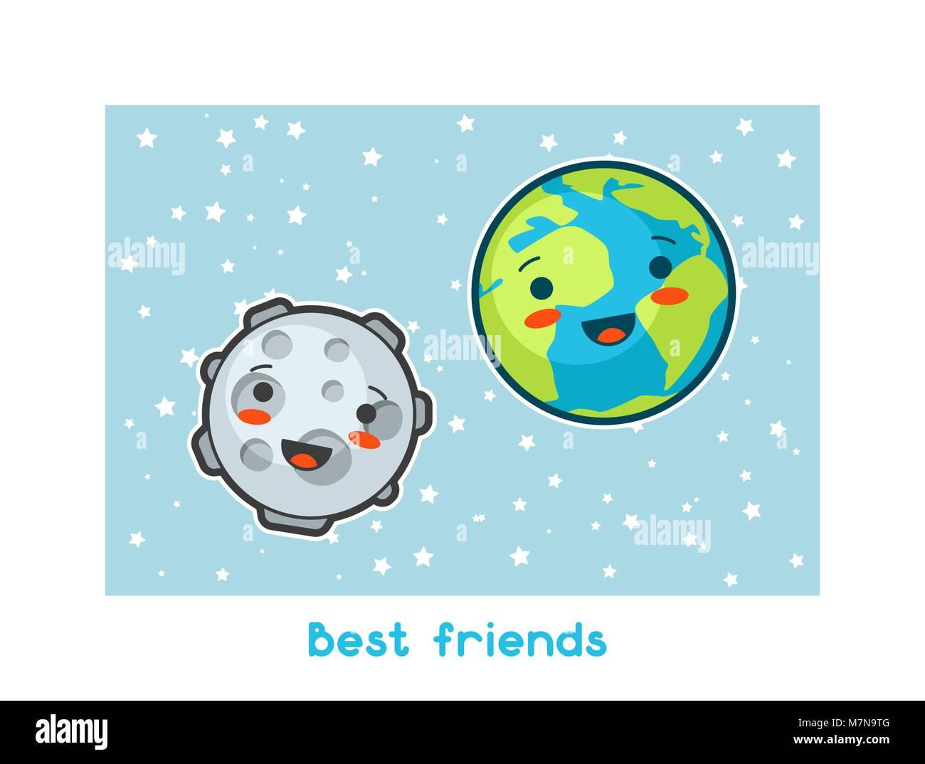 Mejores Amigos Espacio Kawaii Gracioso Tarjeta Garabatos Con