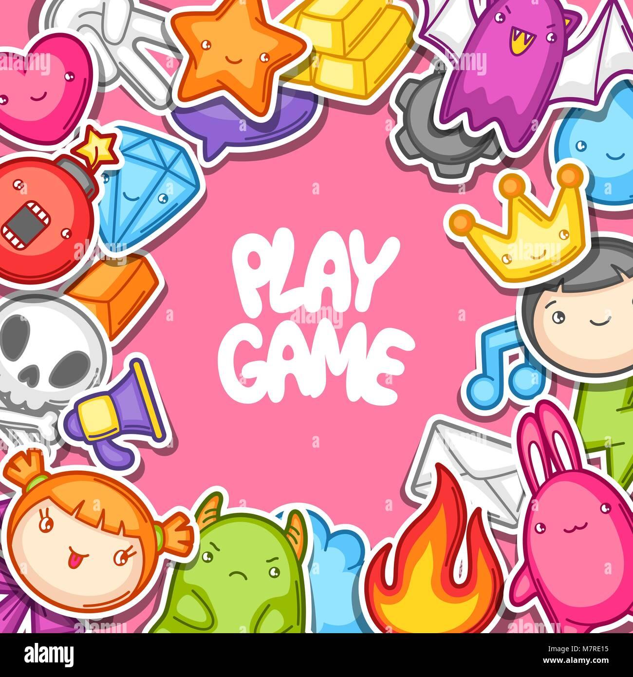 Juego Kawaii Antecedentes Elementos De Diseno De Juegos Cute