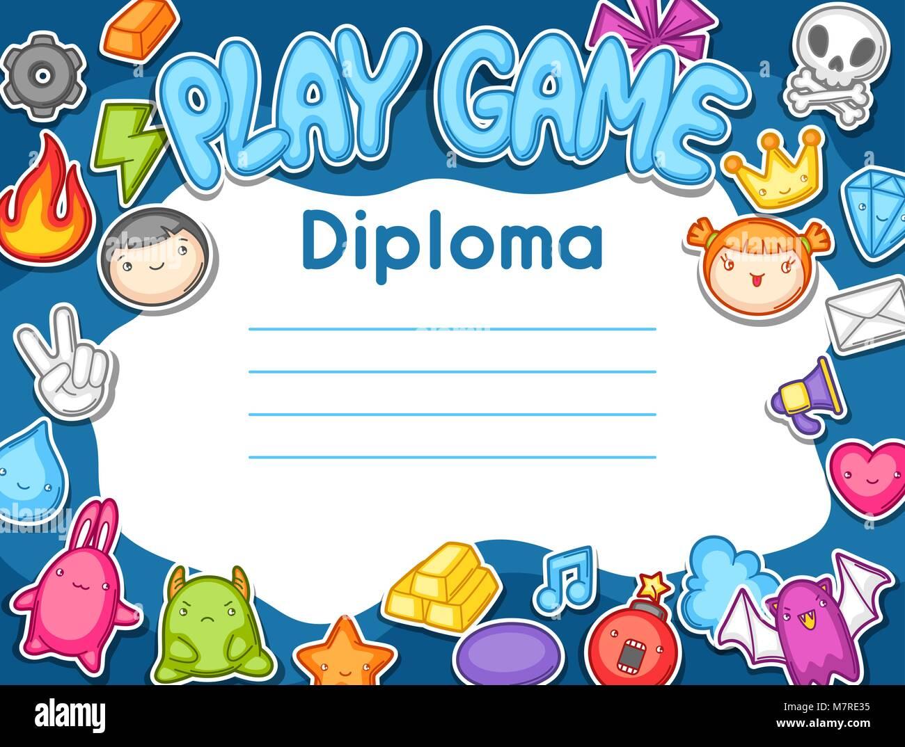 Juego Kawaii Diploma Elementos De Diseno De Juegos Cute Objetos Y