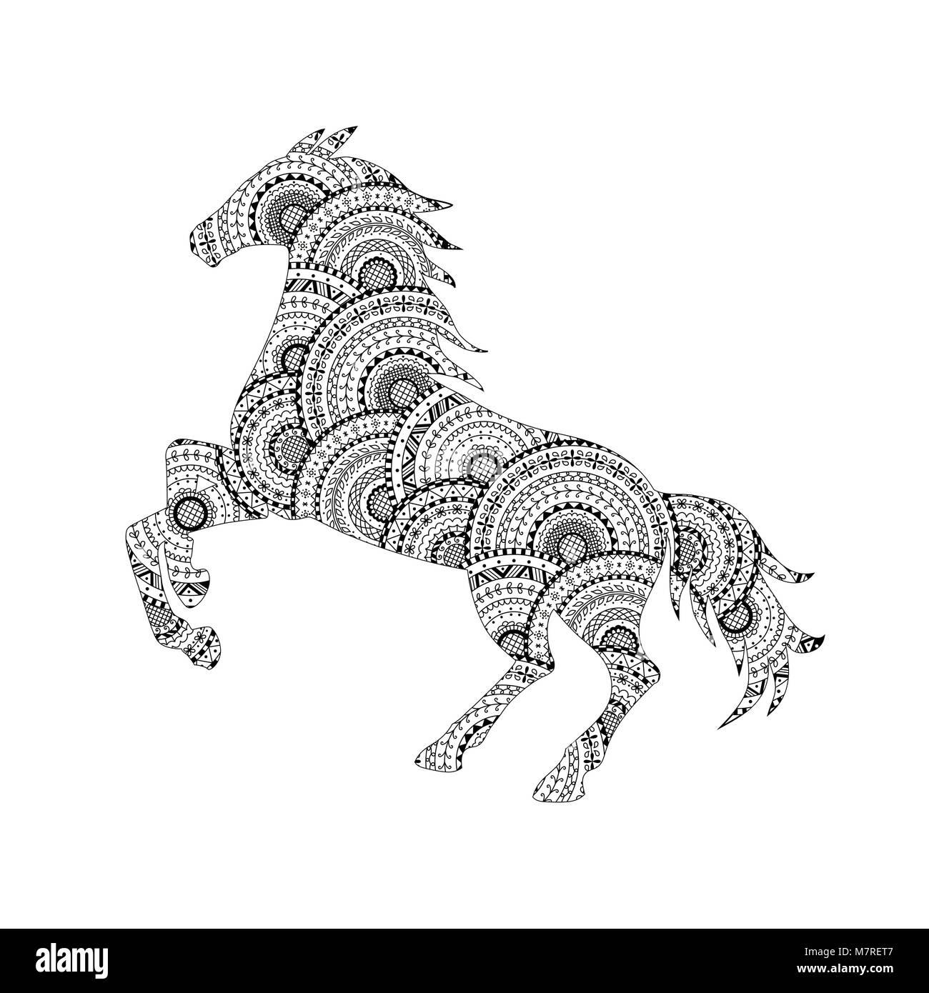 Ilustración vectorial de la silueta del caballo de mandalas en ...