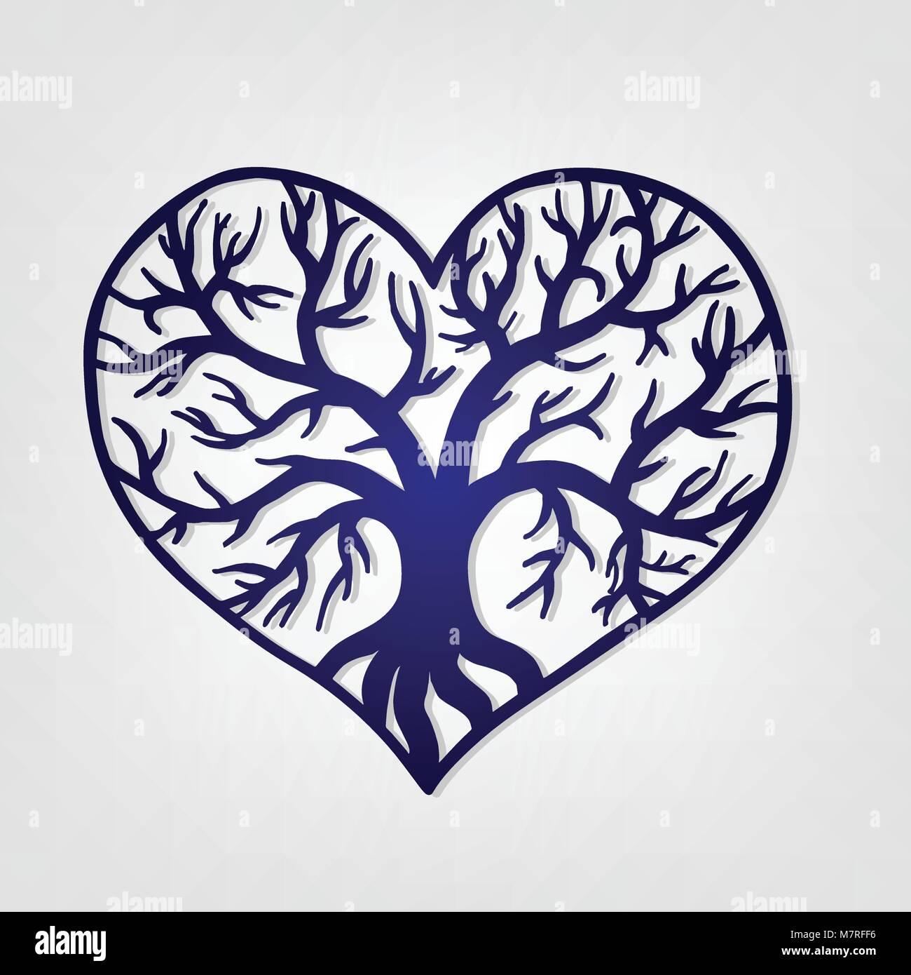 Corazón agujereado con un árbol en su interior. Plantilla de corte ...