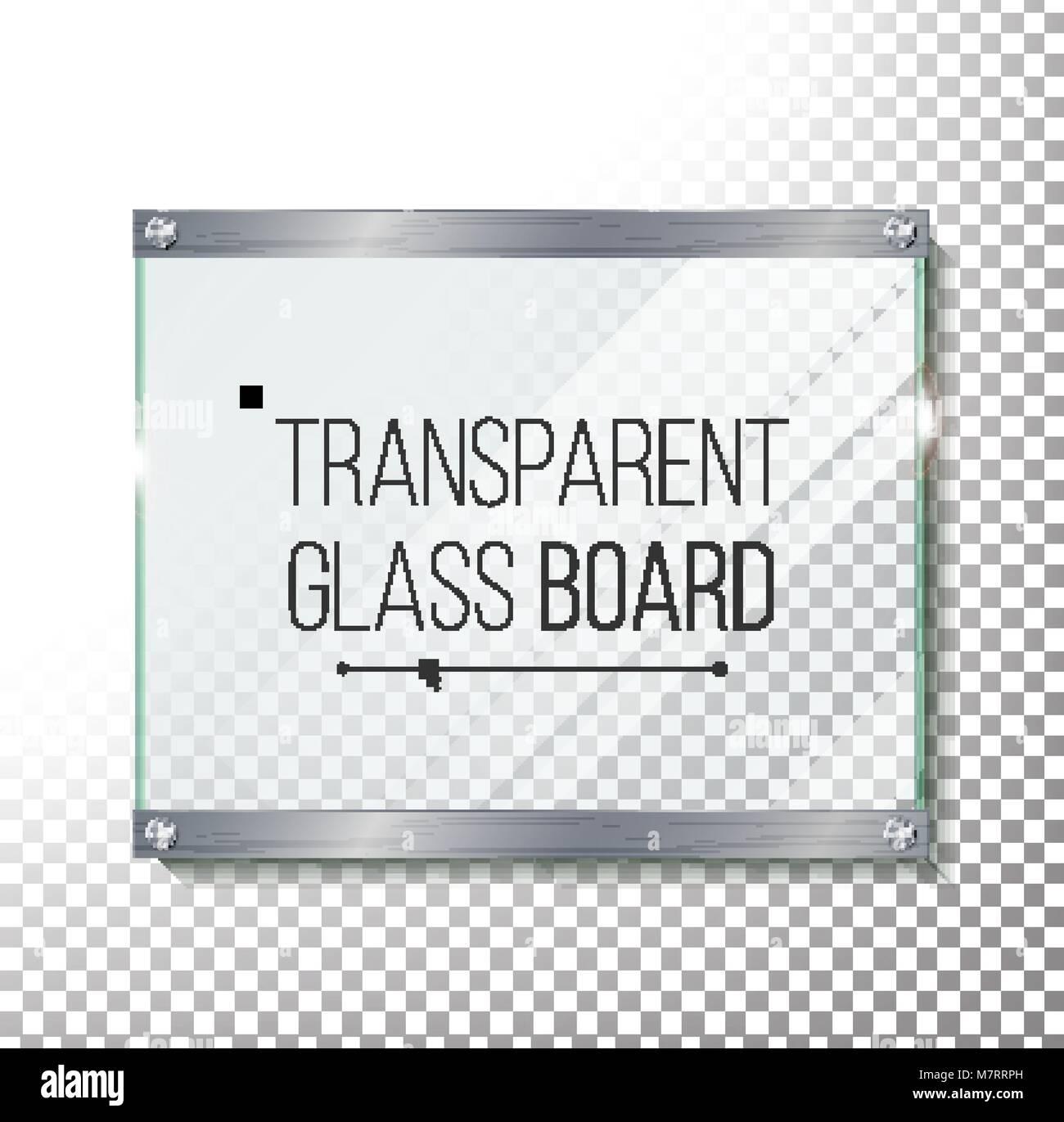 Placa de cristal transparente Maqueta Vector. Plástico Panel ...