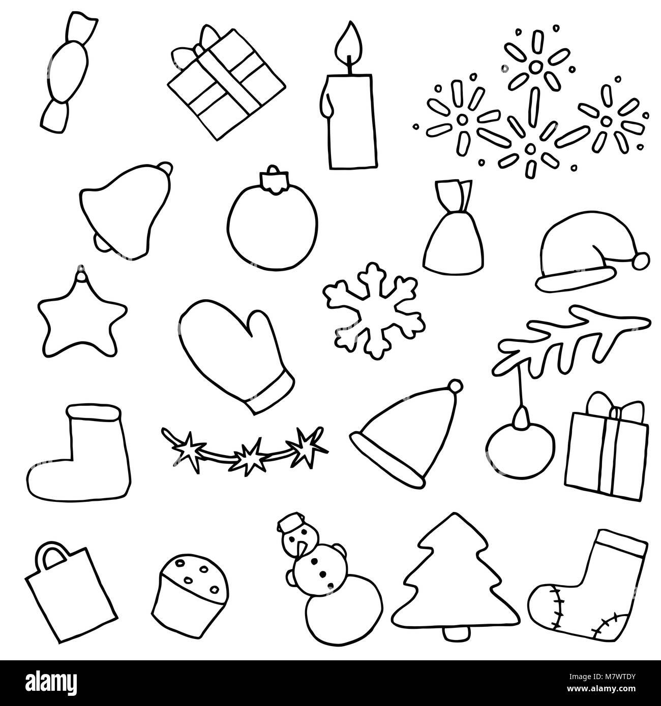 Año Nuevo conjunto de iconos. Pegatinas para colorear de Navidad ...