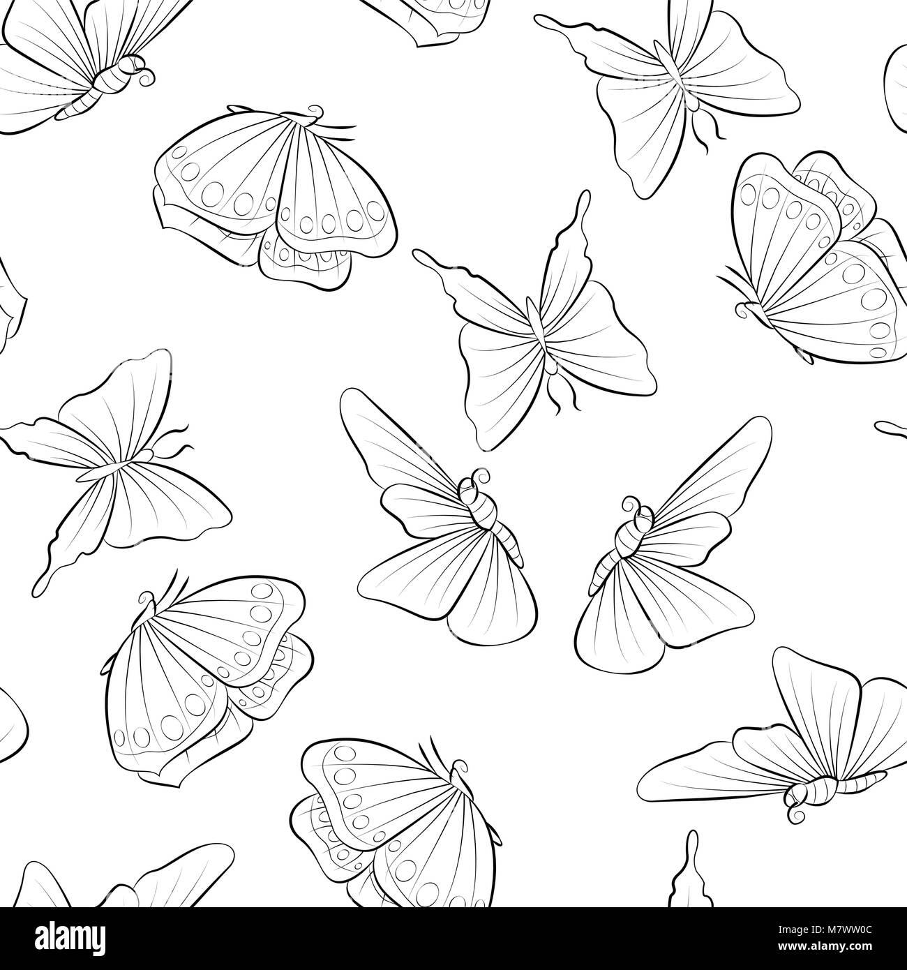 Diferentes hermosa mariposa volando alrededor de libro para colorear ...