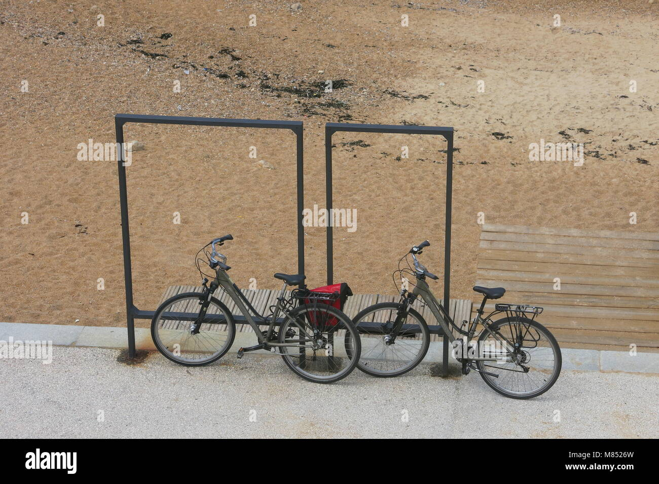 two bicycles parked against Stock Photos & two bicycles parked ...