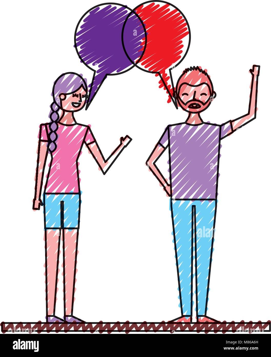 Dos Personas Hablando Dibujo