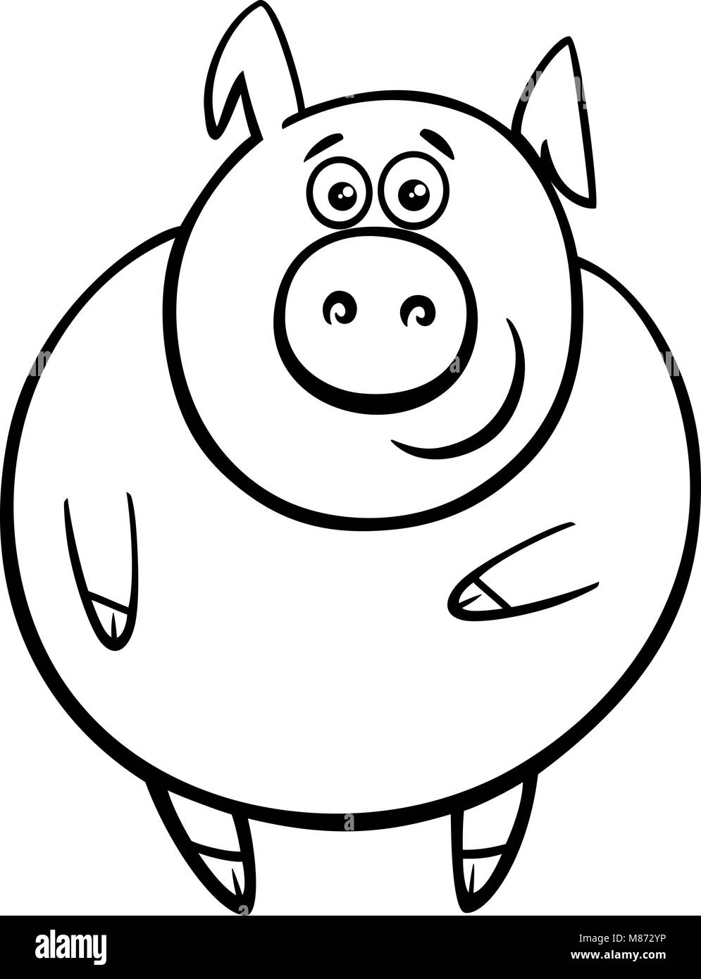 Ilustración caricatura en blanco y negro de lindo gracioso cerdo o ...