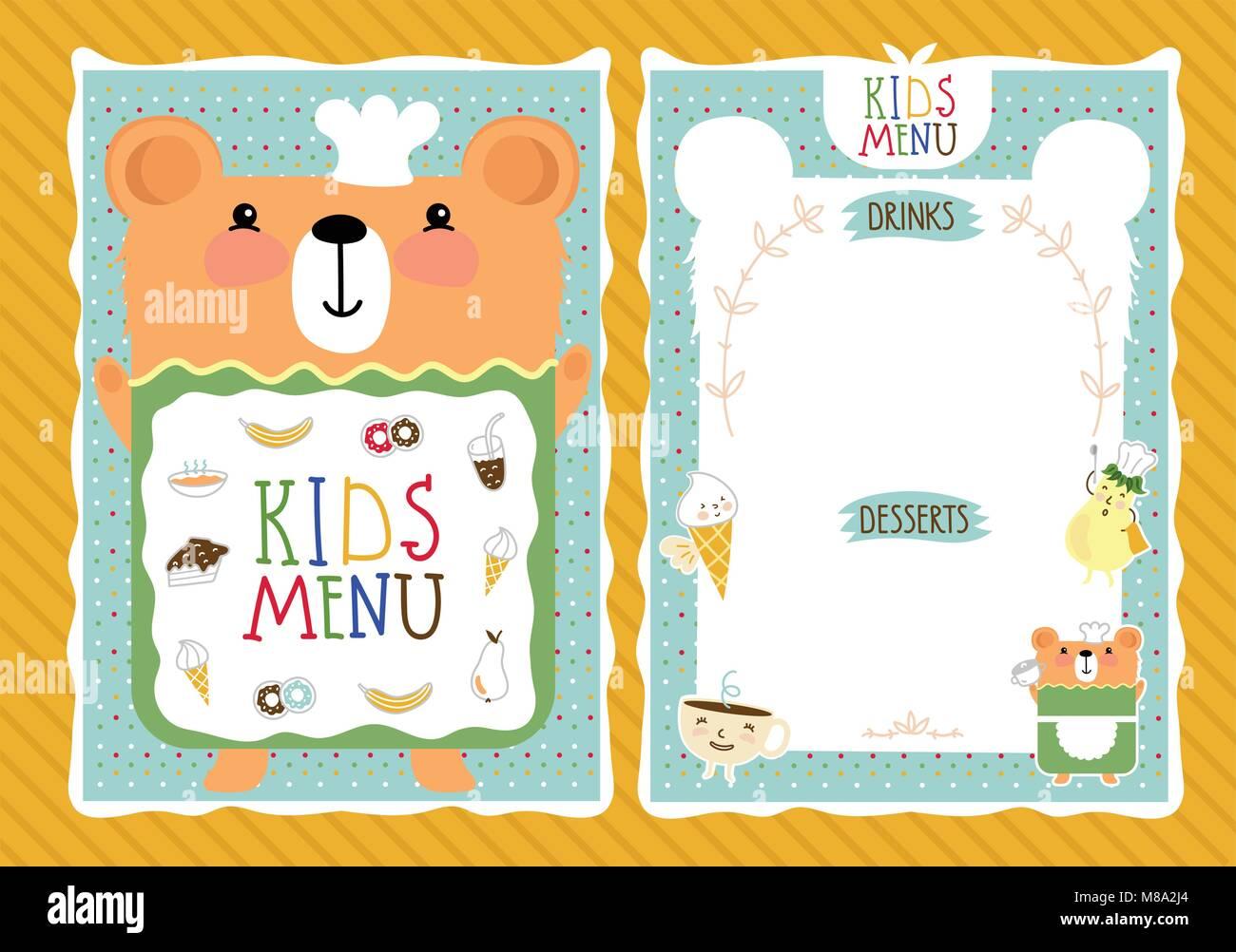 Cute Menu Card Vector Illustration Imágenes De Stock & Cute Menu ...