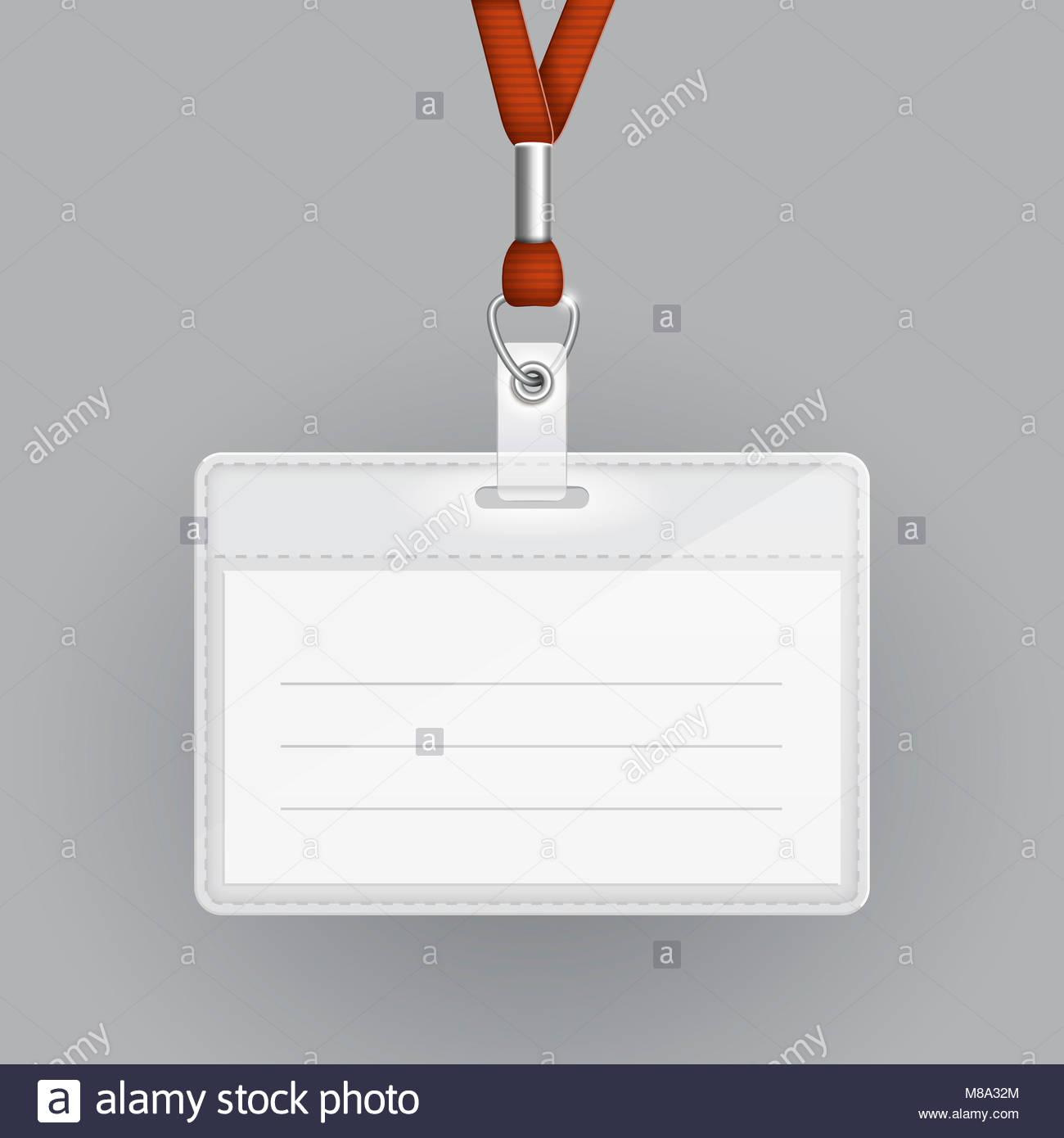 Plantilla de tarjetas de identificación en blanco sobre fondo gris ...