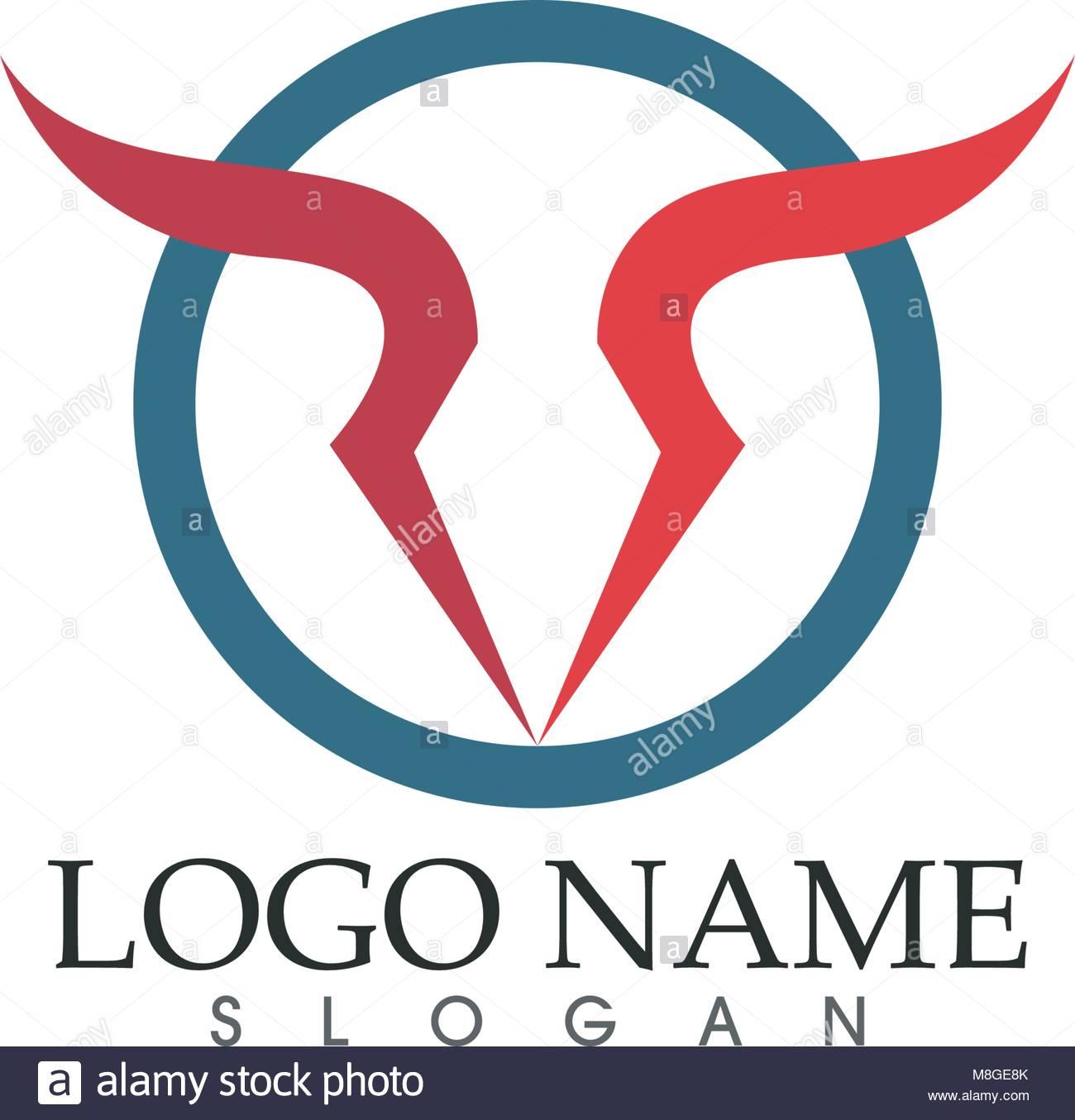 Bull Logo Plantilla icono vectorial ilustración Ilustración del ...