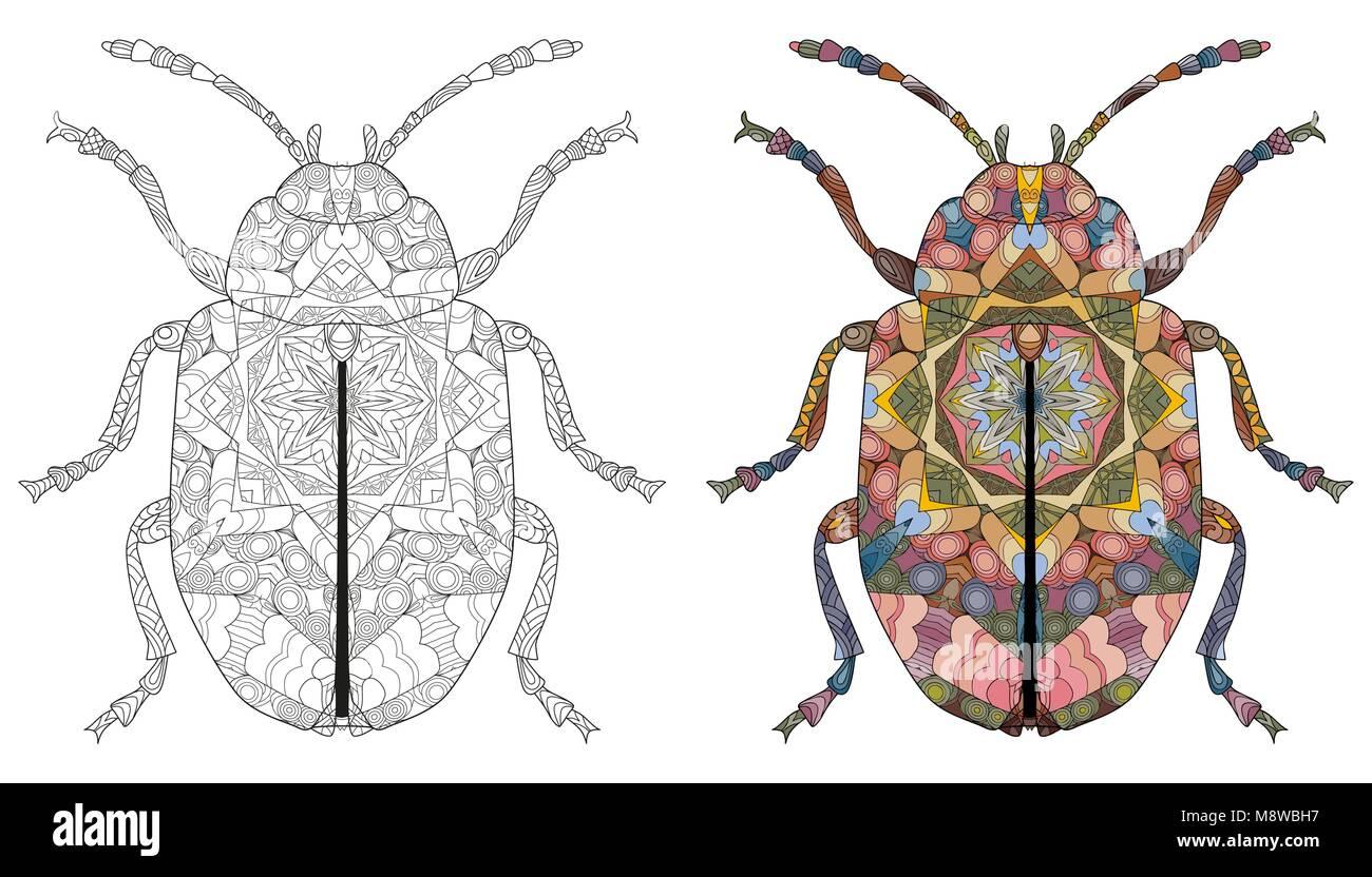 Escarabajo de estilo zentangle para T - shirt design, tatuaje y ...