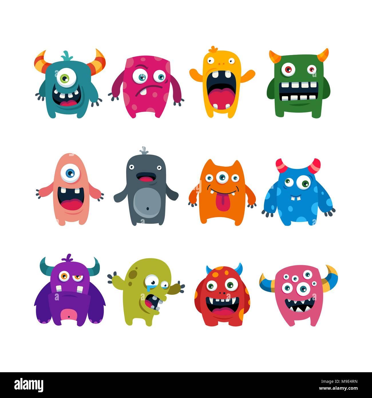 juego de cute dibujos animados monstruos plano ilustración